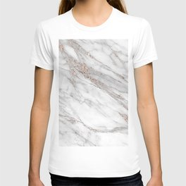 Pink Rose Gold Blush Metallic Glitter Foil on Gray Marble T-shirt