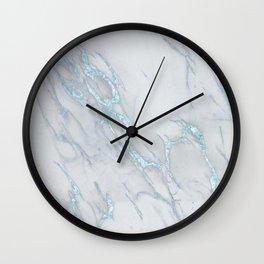 Marble Love Sea Blue Metallic Wall Clock