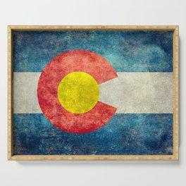 Grungy Colorado Flag Serving Tray