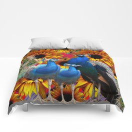 ORNATE BLUE PEACOCKS & GOLDEN SUNFLOWERS Comforters