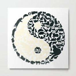 Yin-Yang Cats - FELT Metal Print