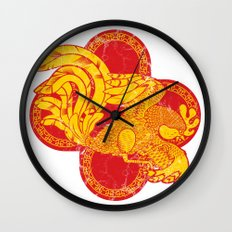 Rooster fire Wall Clock