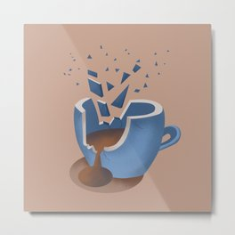 Exploding Coffee Cup Metal Print