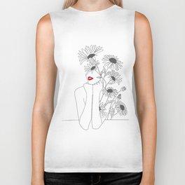 Minimal Line Art Girl with Sunflowers Biker Tank