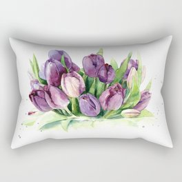 Watercolor bouquet of tulips Rectangular Pillow