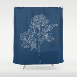 Chrysanthemum Blueprint Shower Curtain