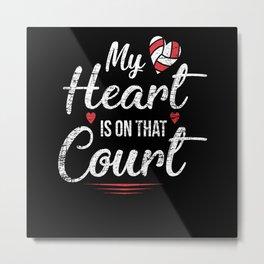 Volleyball Heart Metal Print