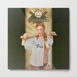 VINTAGE GIRLS - Baseball Metal Print