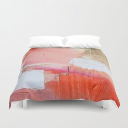 Moving Mountains: a minimal, abstract piece in reds and gold by Alyssa Hamilton Art Duvet Cover