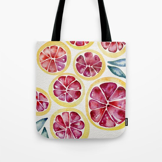 Sliced Grapefruits Watercolor Tote Bag