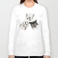 art Long Sleeve T-shirts featuring The Owl's 3 by Isaiah K. Stephens
