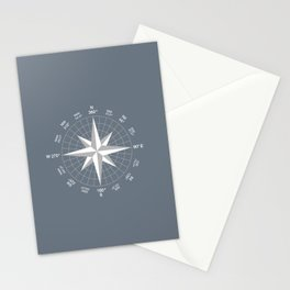Compass in White on Slate Grey color Stationery Cards