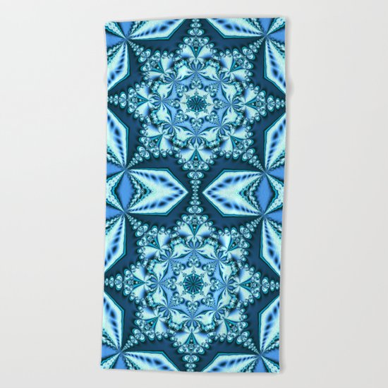 Blue winter snowflake Beach Towel