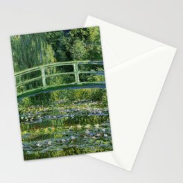 Water Lilies and Japanese Footbridge, Claude Monet Stationery Cards
