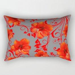 ORANGE-RED AMARYLLIS BROCADE FLORAL GREY ART Rectangular Pillow