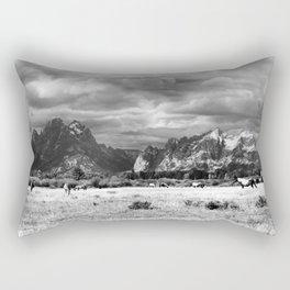 Horse and Grand Teton (Black and White) Rectangular Pillow