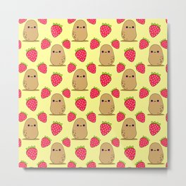Cute funny sweet adorable little baby potatoes and red ripe summer strawberries cartoon light bright sunny pastel yellow pattern design Metal Print