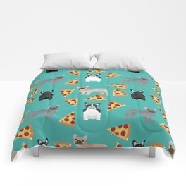 frenchie pizza cute funny dog breed pet pattern french bulldog Comforters