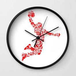 Basketball RED Wall Clock