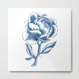 Classic Blue and White Peony Pattern Metal Print