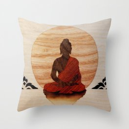 Buddha marquetry Throw Pillow
