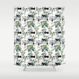 cats in the interior pattern Shower Curtain