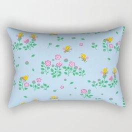 Rose Garden Tea Party Blue Rectangular Pillow