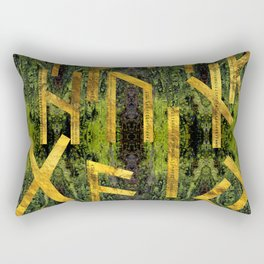 Vintage Gold Runic alphabet on tree bark Rectangular Pillow