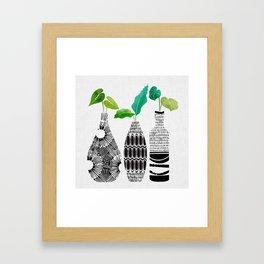 Black and White Tribal Vases Framed Art Print