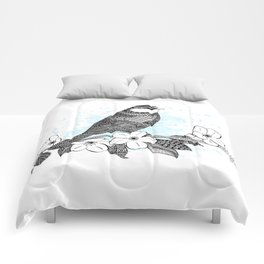 Bird and cherry blossoms Comforters