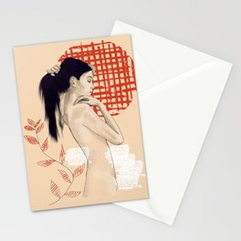 Girl drawing on red Stationery Cards