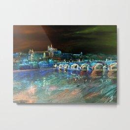 Night Sky Over Prague Metal Print