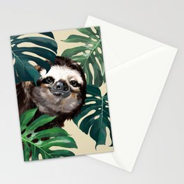 Sneaky Sloth with Monstera Stationery Cards