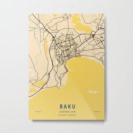Baku Yellow City Map Metal Print
