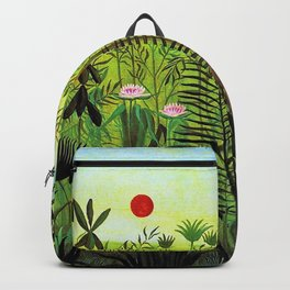 Exotic Jungle Landscape with Lion and Lioness by Henri Rousseau Backpack