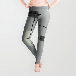 Rounded Rectangles Squares Gray Leggings