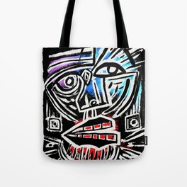 """Excuse me?"" Abstract Face Painting Tote Bag"