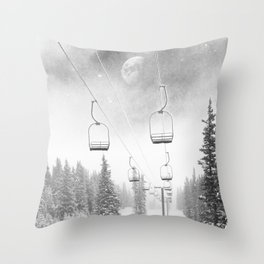 Ski Lift Moon Break // Riding the Mountain at Copper Colorado Luna Sky Peeking Foggy Clouds Throw Pillow
