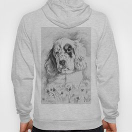 English Setter puppy Black and white portrait Hoody