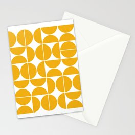 Mid Century Modern Geometric 04 Yellow Stationery Cards