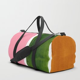 Colorful Minimalist Mid Century Modern Shapes Pink Olive Green Yellow Ochre Rothko Minimalist Square Duffle Bag
