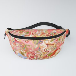 VENTRAL - bright red pink multi-color abstract patten Fanny Pack