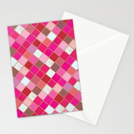 Pink Tiles Pattern Stationery Cards