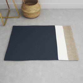 Faux Burlap, White, and Navy Minimalist Color Block 2  Rug