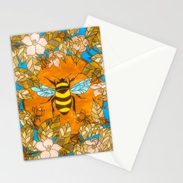 Bumblebee In Wild Rose Wreath Stationery Cards