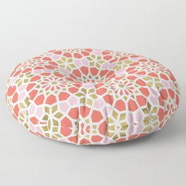 Persian Mosaic – Coral & Gold Palette Floor Pillow