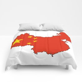 China Map with Chinese Flag Comforters