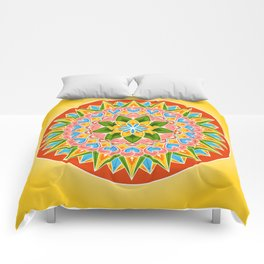 Costa Rica Folk Pattern – Decorated painting wheel of coffee ox cart Comforters