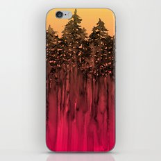 FOREST THROUGH THE TREES 12 Hot Pink Magenta Orange Black Landscape Ombre Abstract Painting Outdoors iPhone & iPod Skin