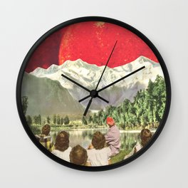 Red sun sails in the sunset Wall Clock